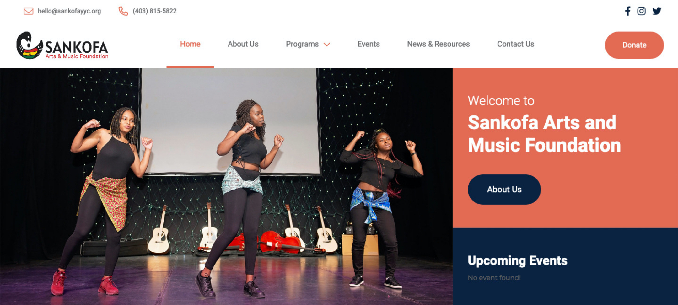 sankofa homepage web design